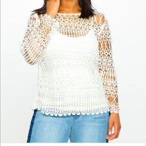 Eloquii Long sleeved geometric lace top